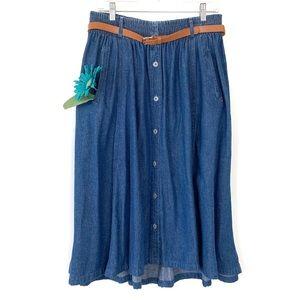 Vintage Long Jean Skirt with Buttons & Belt Blue